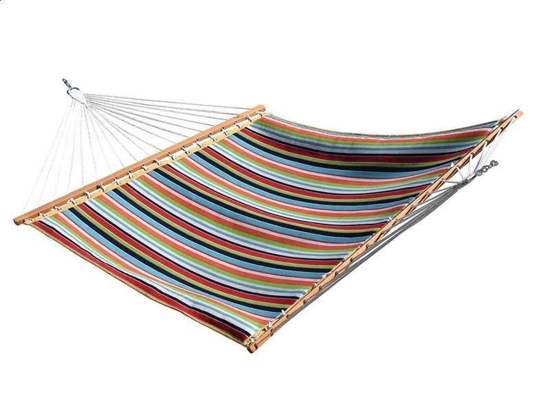 Pikowany hamak Sunbrella z drążkiem dwuosobowy
