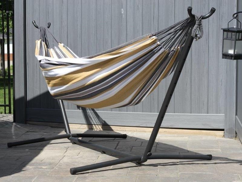 Hamak bawełniany ze stojakiem metalowym 8f