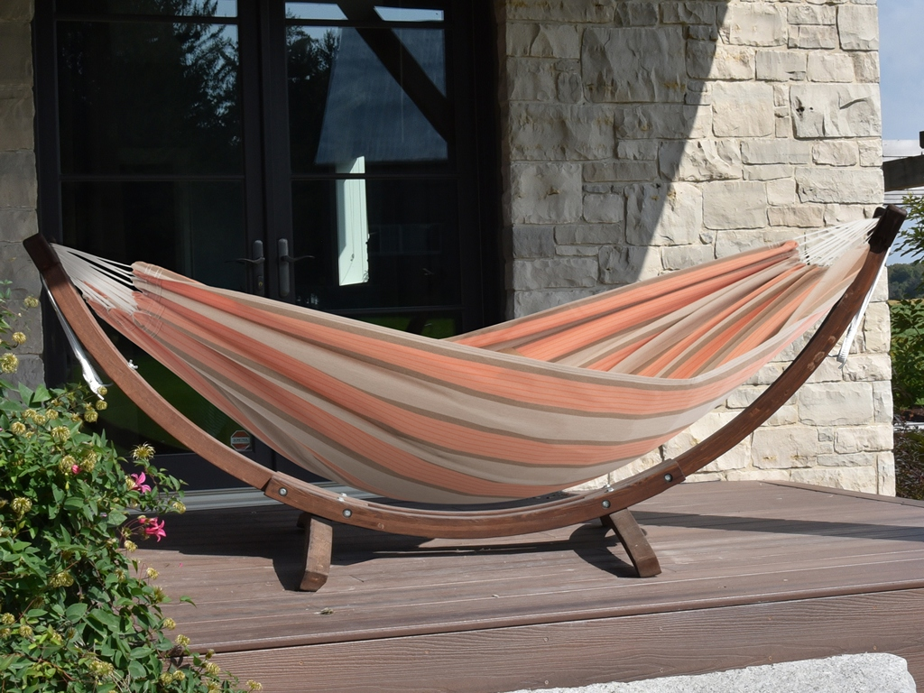 Hamak dwuosobowy Sunbrella + drewniany stojak